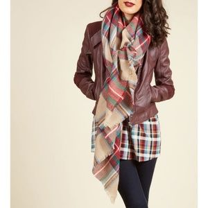 ❤ModCloth Loch & Key Plaid Red/Tan Blanket Scarf